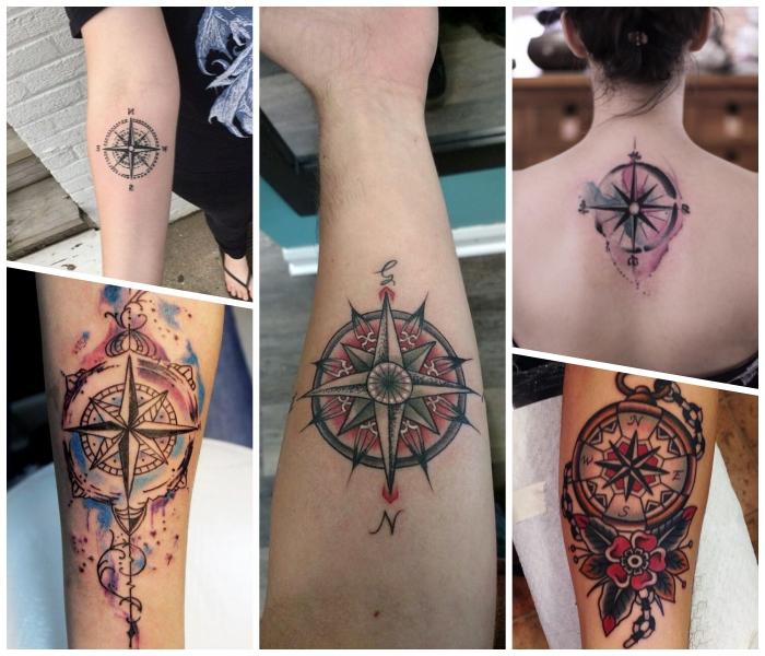 maritime tattoos designs, rücken tätowieren lassen, goemetrische elemente, collage