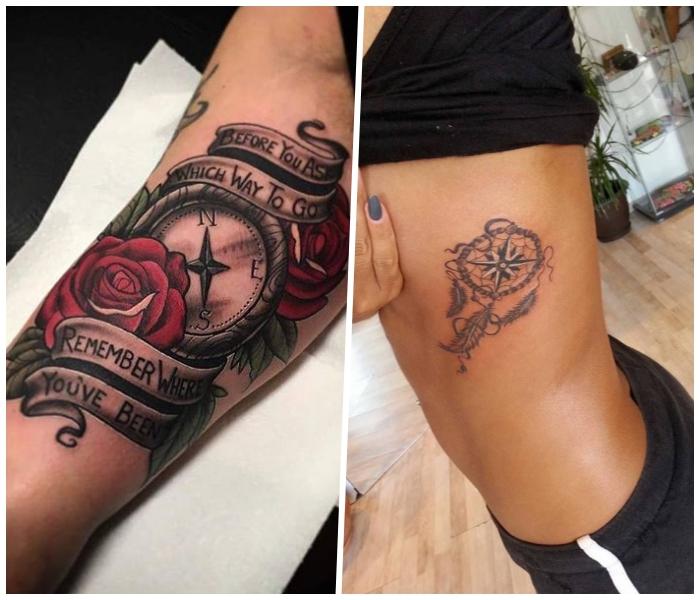 maritime tattoos für frauen, rote rosen, kleiner traumfänger an der kärperseite