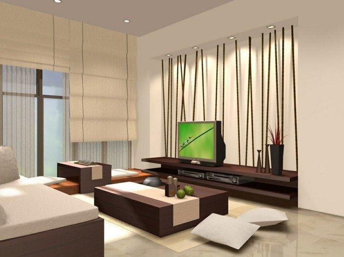 Wohnzimmer Ideen für kleine Räume, ein Wohnzimmer nach Feng Shui, Bambus Wand, brauner Tisch