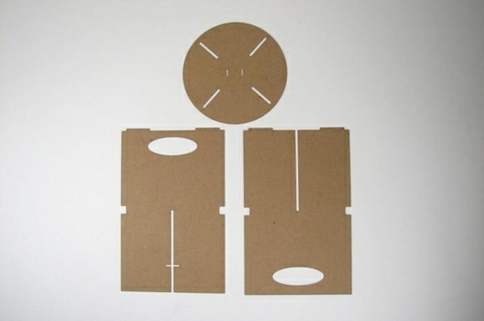 pappmöbel ideen, drei stücke, einfach, schnell günstig möbel selber machen, kartoon