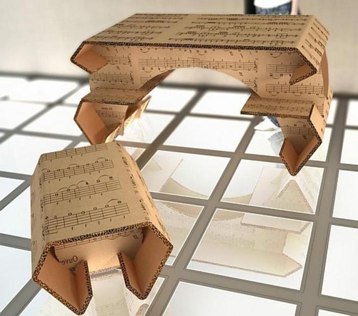 box pappe, musik noten, auf karton geprintet, ausgedruckt, piano mit stuhl daran aus karton kleines makett machen