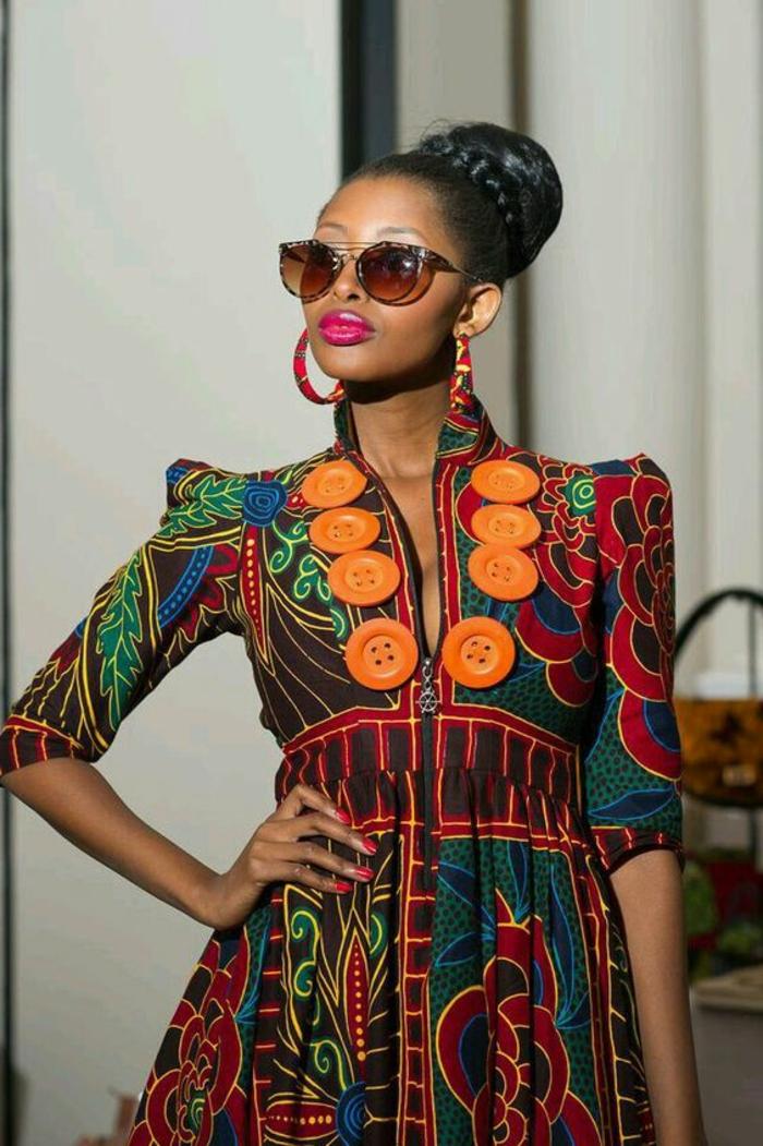 afrikanische kleidung von heute, die trends der gesättigten starken farben sind auf dem marsch