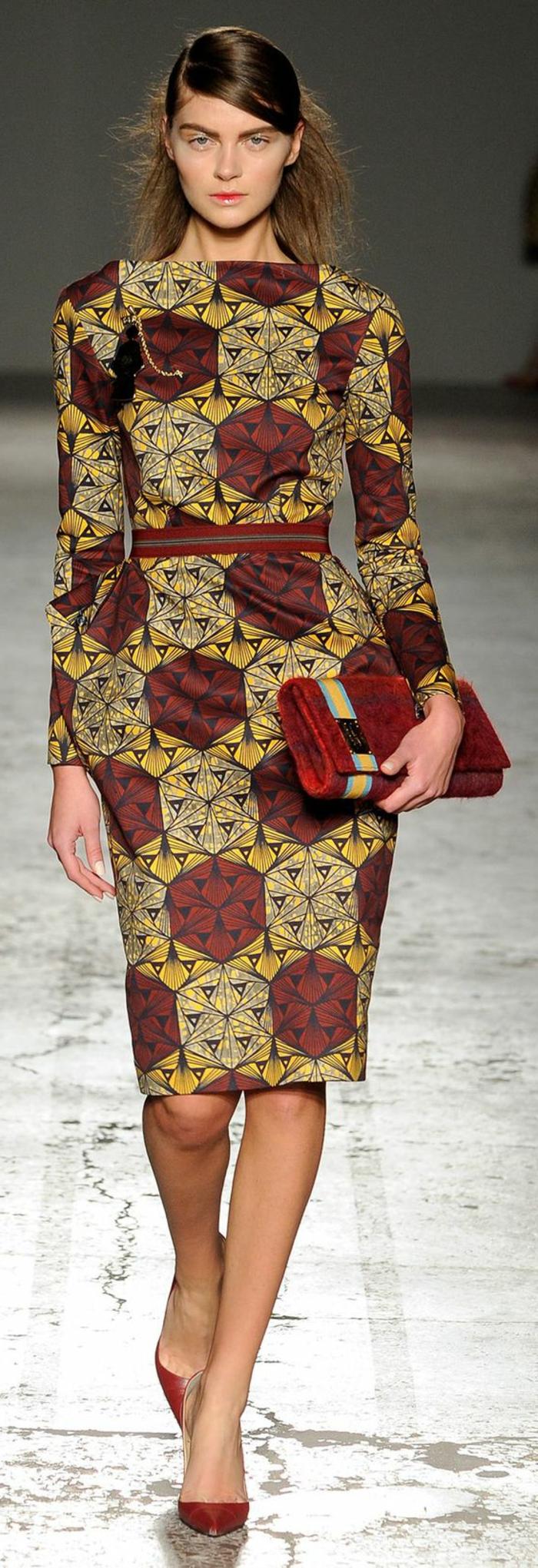 orientalische kleidung und inspirationen aus dem mode podium, rot gelb grünes kleid