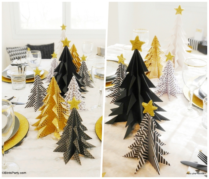 tischdeko zu weihnachtn in weiß, gold und schwarz, origami weihnachtsbaum, sterne