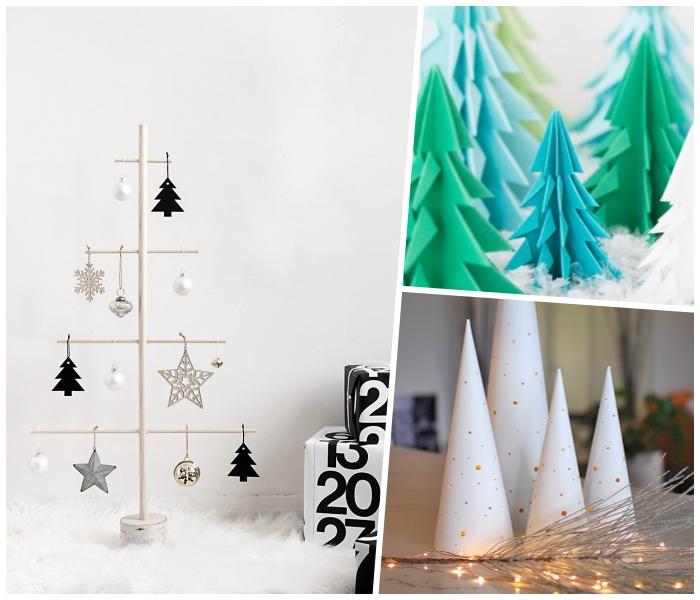 tannenbaum aus holz dekoriert mit selbstgemachtem schmuck, origami weihnachtsbaum