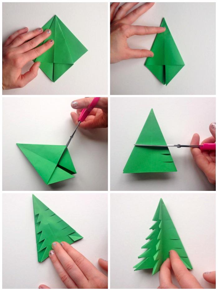 diy bastelideen, origami weihnachstbaum selber machen, rosa schere, schritt für schritt