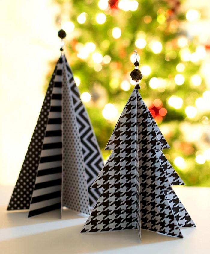 christbaumschmuck aus papier, origami weihnachtsbaum machen, geometrische motive