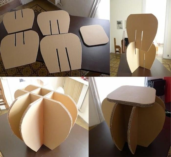 möbel aus karton selber konstruieren, bauanleitung idee, hocker zum selbermachen