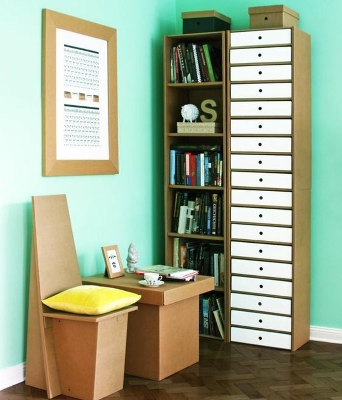 möbel aus karton, gestaltungsideen für ein lustiges kinderzimmer, stuhl, tisch, schubladen, regale