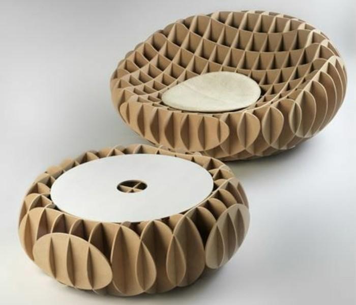 möbel aus karton design idee in kreativer optik, hocker, sitzoberfläche, deko ideen möbel und interieur günstig und interessant