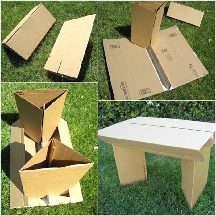 pappmöbel selber machen so funktionierts, vier bilder zeigen wie man selber eine kleine bank aus pappier bauen kann