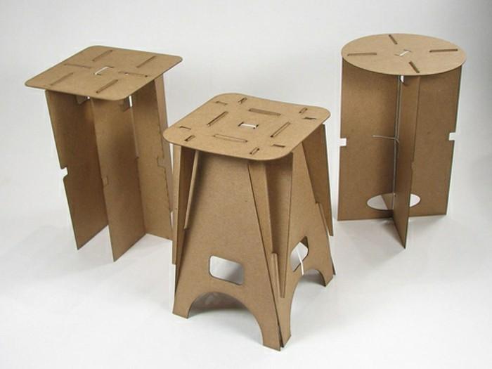 pappmöbel selber bauen so funktionierts, drei hocker in verschiedener optik, alle selber konstruiert