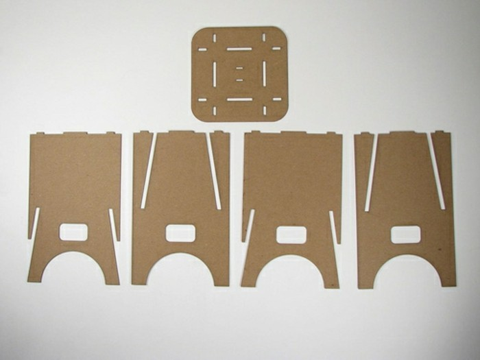 pappmöbel selber machen ideen und inspirationen, anleitung diy, fünf elemente zusammenbinden und einen stuhl daraus machen