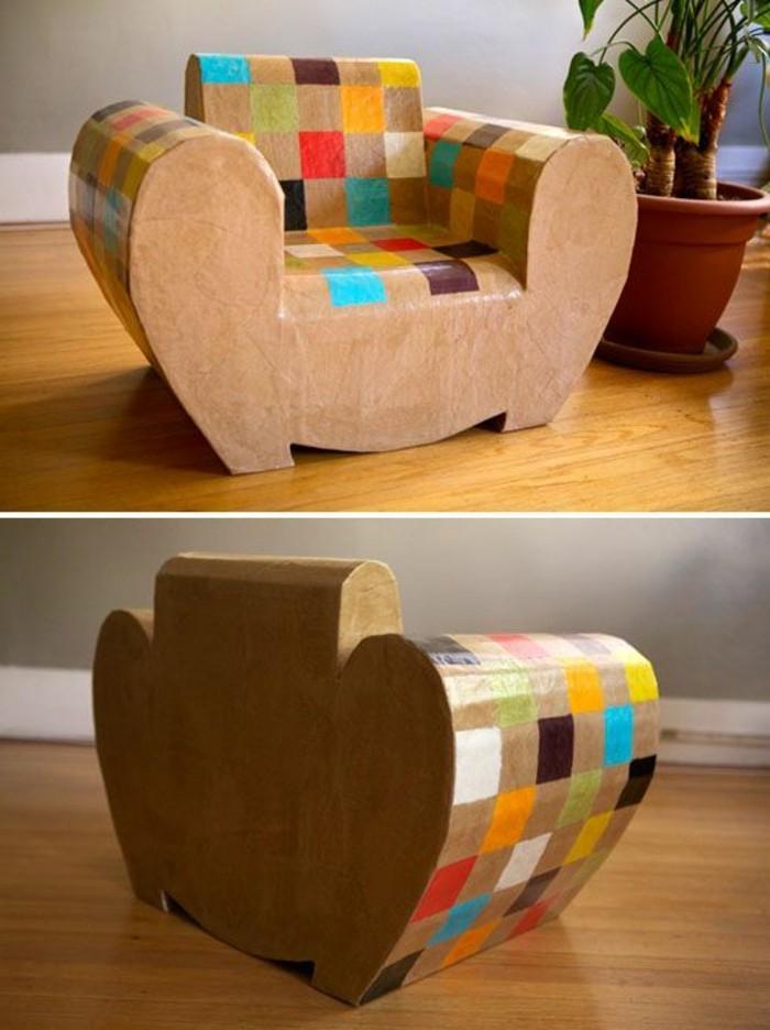 bett pappe designer ideen für günstige möbelstücke, sessel in bunten farben, quadratische deko