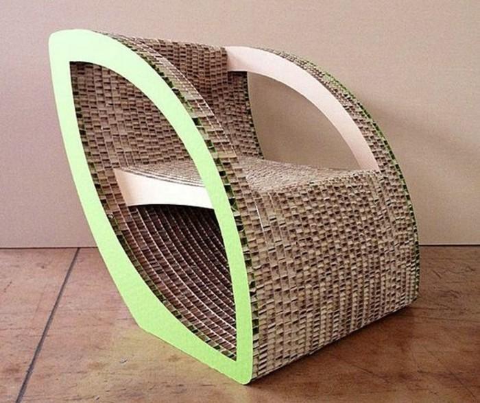 bett pappe, sessel, design grün und beige, naturfarben, stuhl kreativ gestaltet, bodenbelag