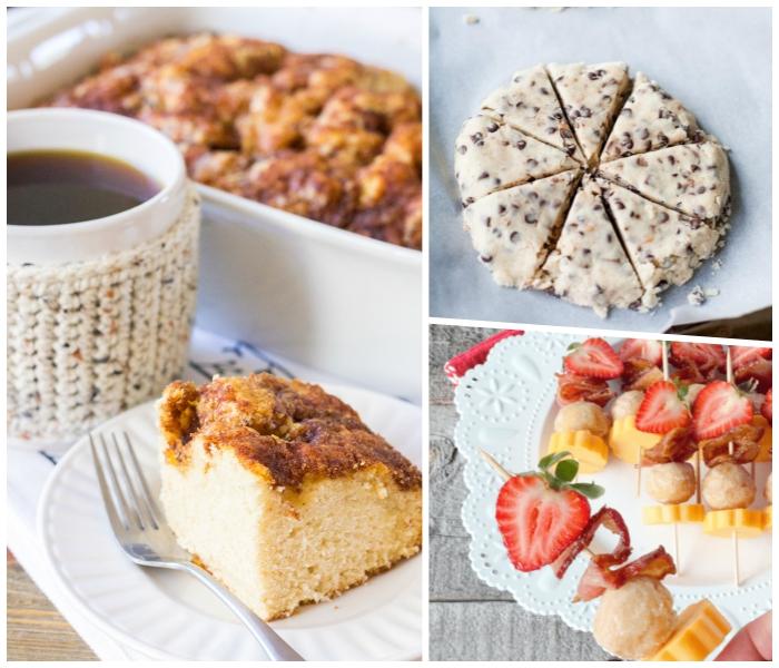 kuchen mit braunem zucker und kaffee, partyrezepte zum vorbereiten am vortag, spießen mit erdbeeren