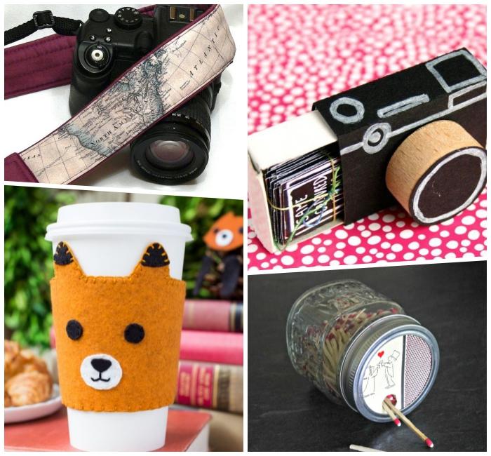 persönliches geschenk für freund, schwarzes fotoapparat, selbstgemachte spielkarten, fuchs