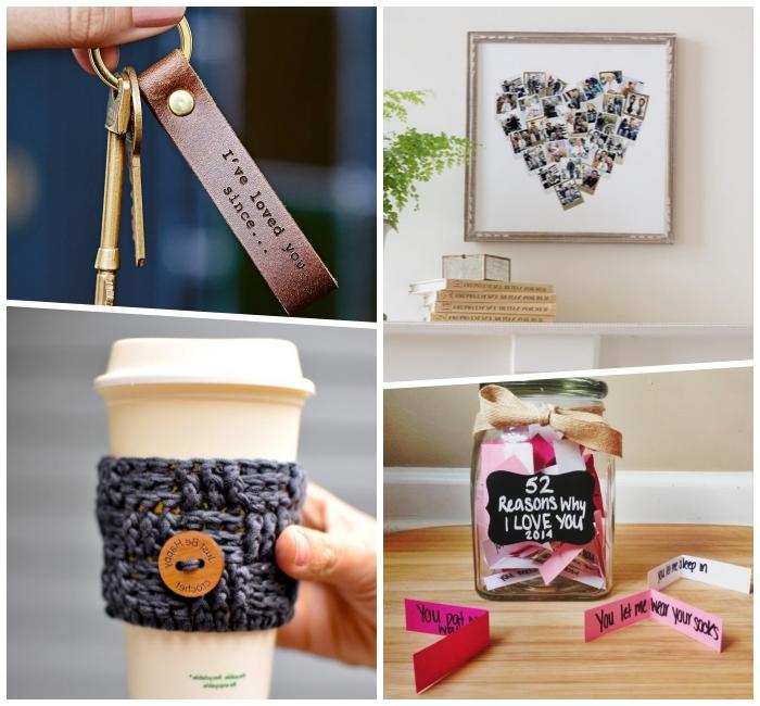persönliches geschenk für freund, schlüsselanhänger aus leder, foto collage in der form von herzen