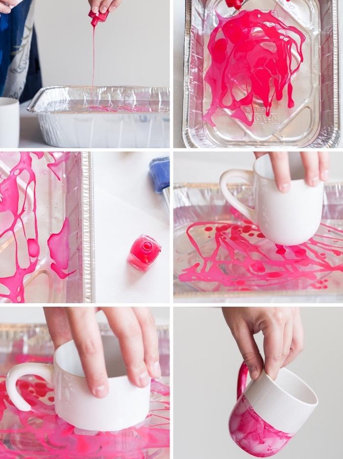 porzellan bemalen, behälter mit wasser, rosa negellack, tasse verzieren