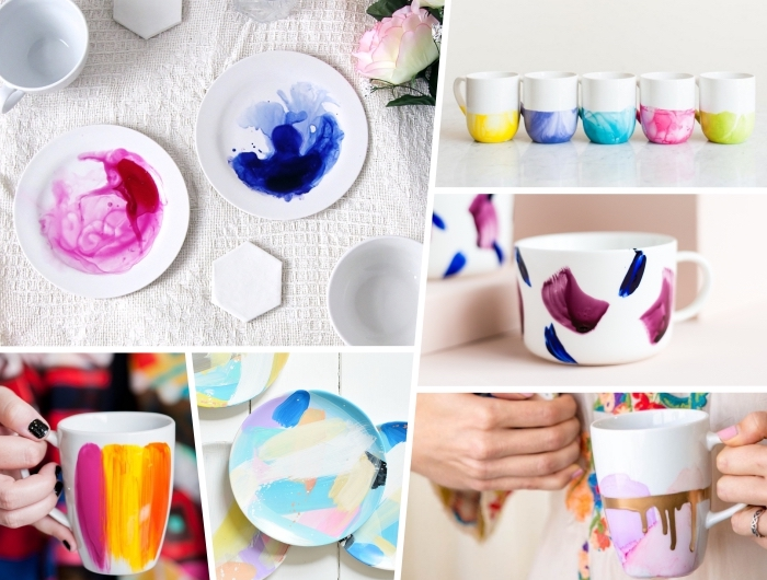porzellan bemalen ideen, geschirr dekorieren, aquarell teller, tassen im wasserfarben look