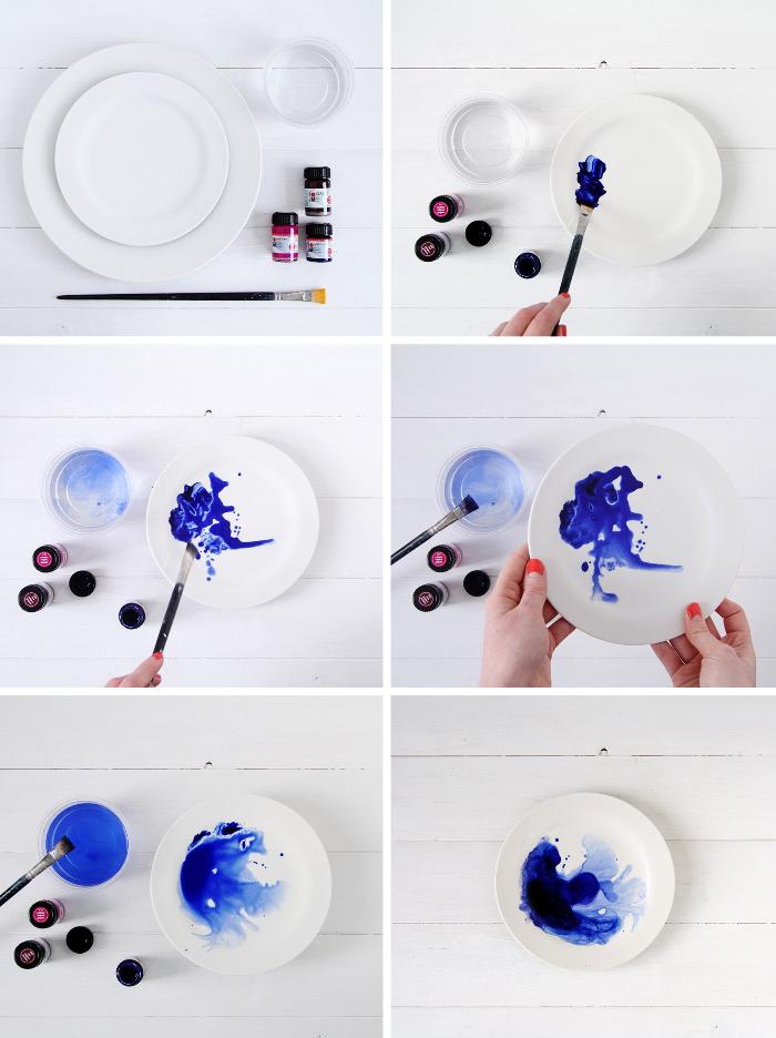 porzellan bemalen mit tintefarben, blaue farbe, glas mit wasser, roter nagellack