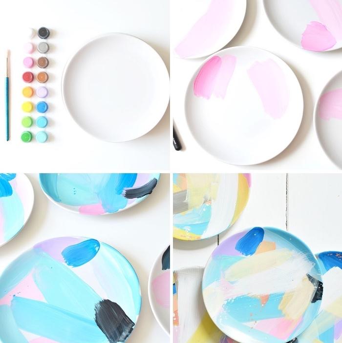 porzellan bemalen, keramik verzieren, schritt für schritt, bunte farben, dünner pinsel