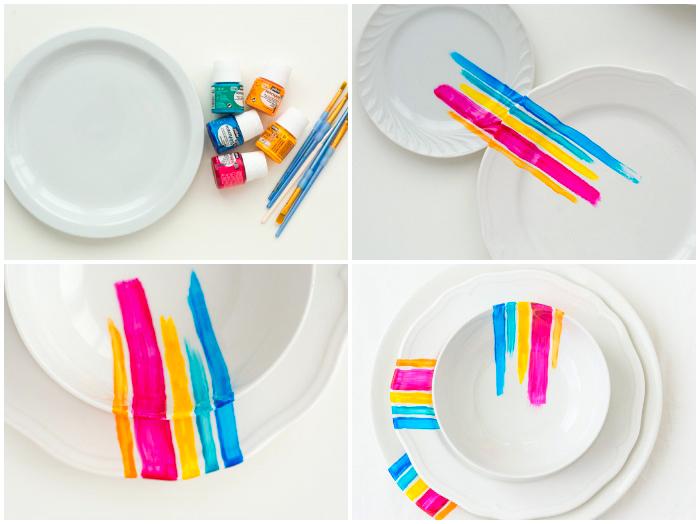 porzellan teller dekorieren, bunte farben, dünne pinsel, streifen machen