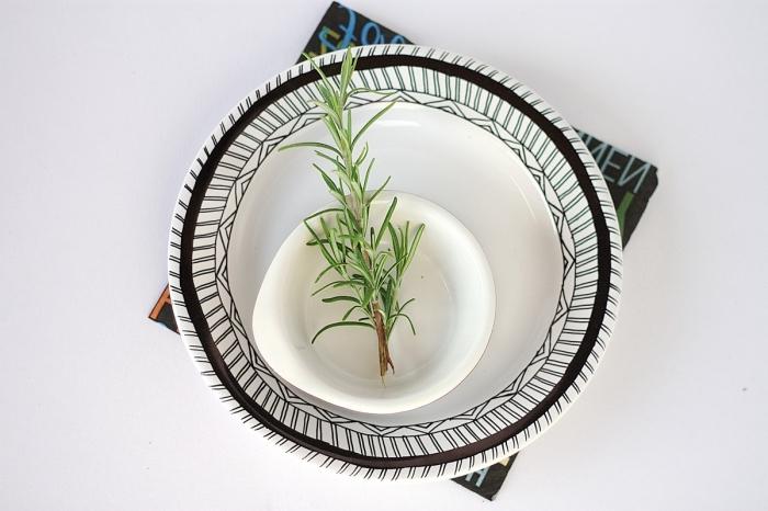 porzellan teller dekoriert mit geometrischen motiven, stengel rosmatin, kleine schale