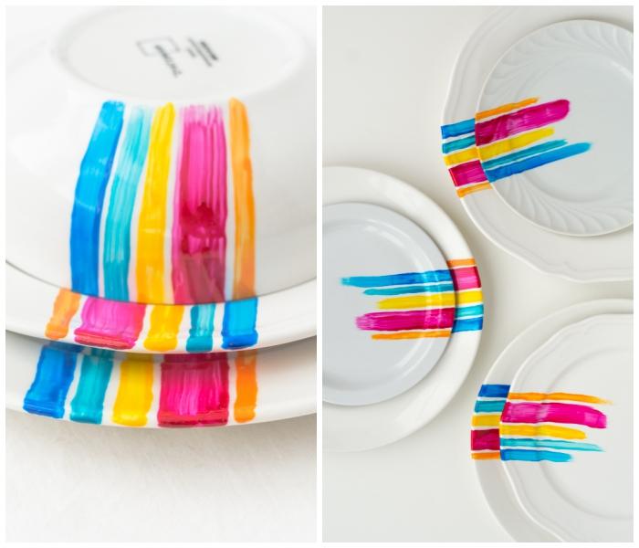 streifen bunte farbe, porzellan teller und schalen set, diy bastelanleitungen