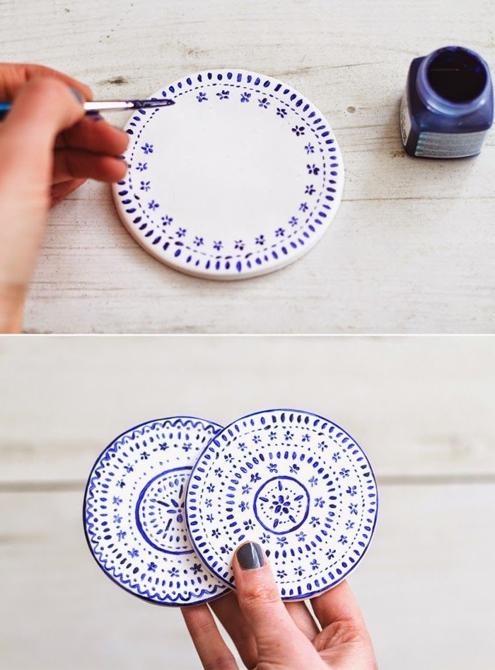 porzellan teller selber machen und dekorieren, blaue farbe, dünner pinsel, diy