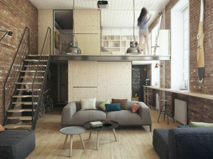 kleine räume einrichten, 20m2 wohnung auf zwei stöcke, schlafzimmer oben, wohnraum unten, treppe dazwischen