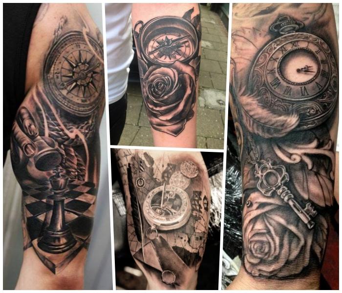realitisches tattoo taschenuhr, 3d tätowierungen in schwarz und grau, schlüssel