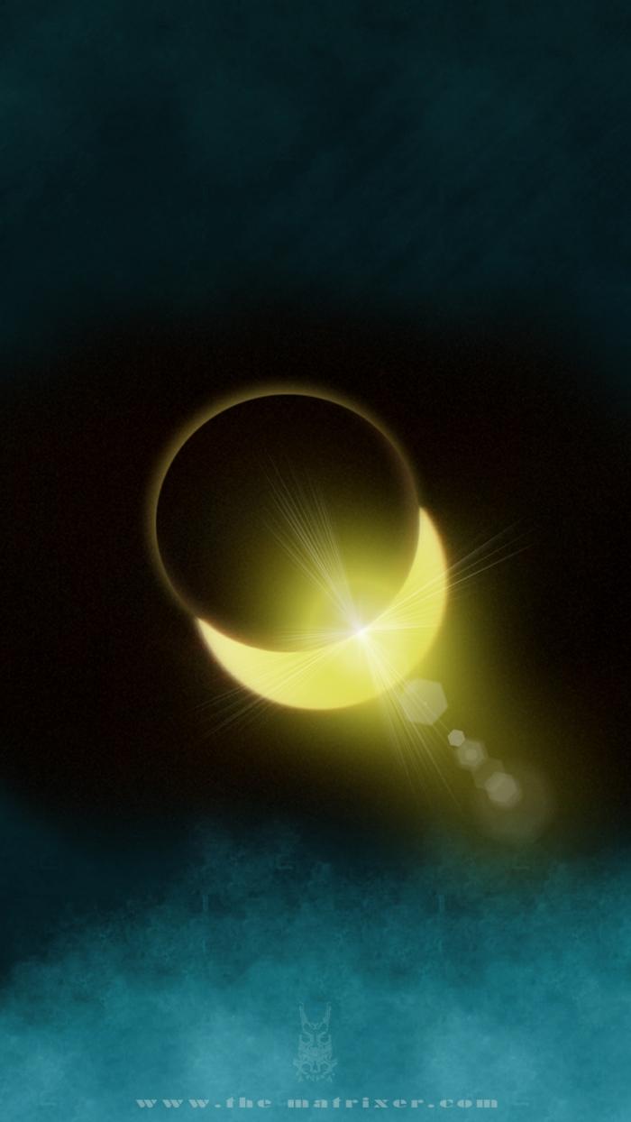 Sonnenfinsternis, die Sonne zeigt sich hinter dem Mond, schwarzer und blauer Himmel, Hintergrundbilder kostenlos