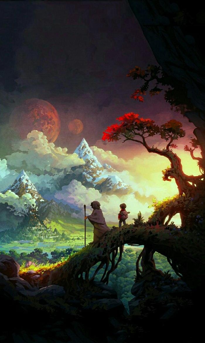 ein Berg, zwei Zwerge gehen über einem Zweig wie Brücke im Herbst, Hintergrundbilder kostenlos