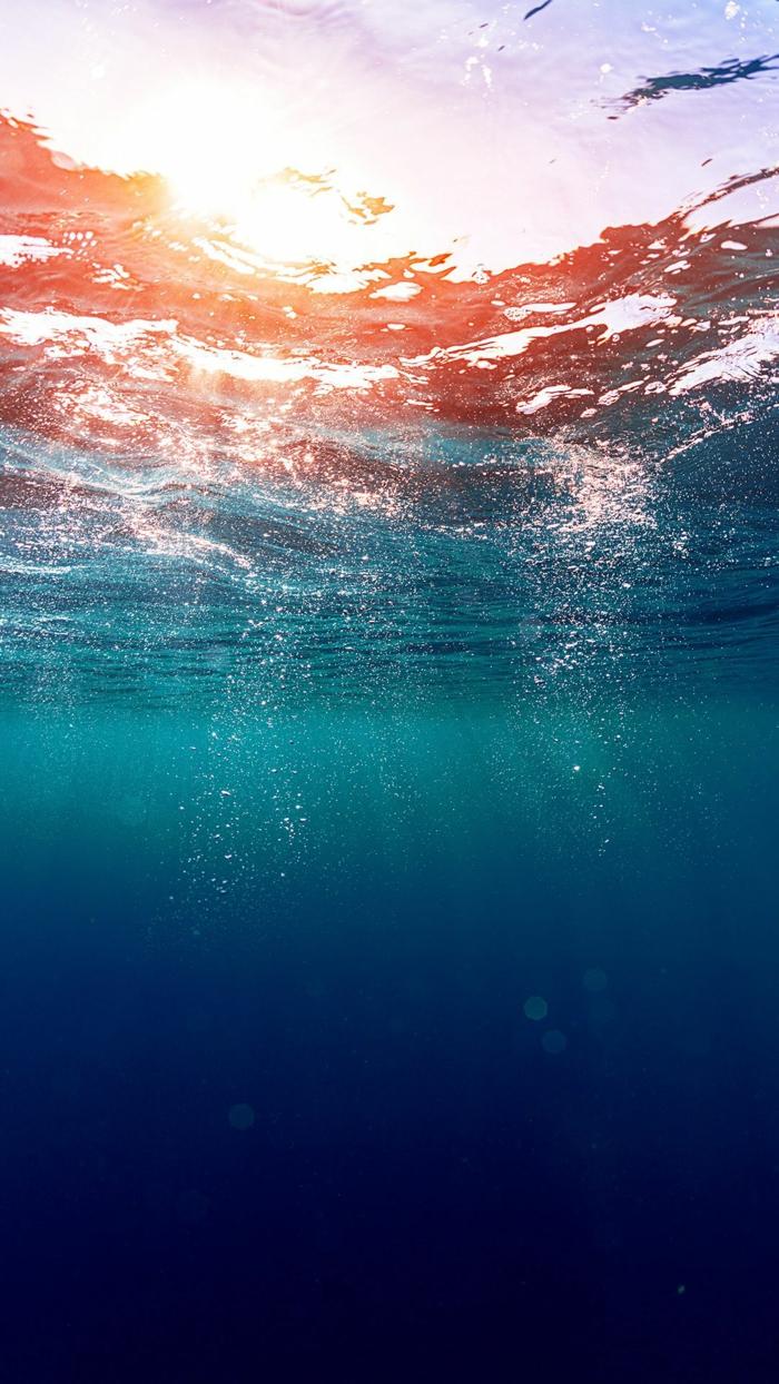 unter Wasser, wie die Sonnen am Meeresspiegel aussieht beim Sonnenaufgang, Hintergrundbilder kostenlos