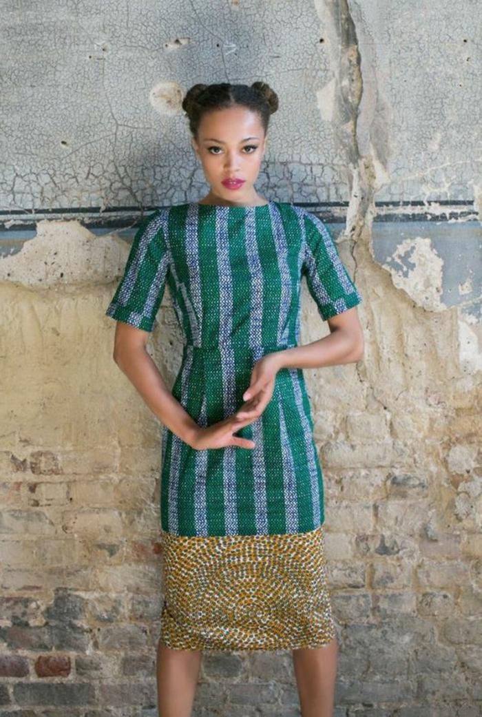 frauen outfits ideen zum alltäglichen stil vom afrika beeinflusst, grün und blau