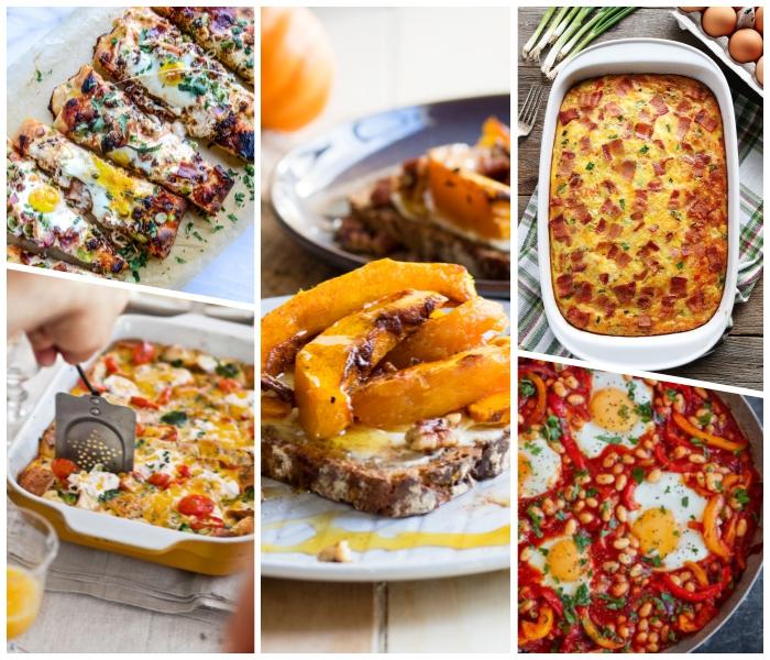schnelle brunch rezepte, brotscheibe mit kürbis, speise mit bohnen, rotem paprika, tomaten und einern