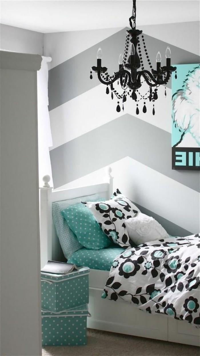 grautöne mit blau schwarz und weiß kombinieren, schlafzimmer grau weiße wand gestaltung, kinderzimmer