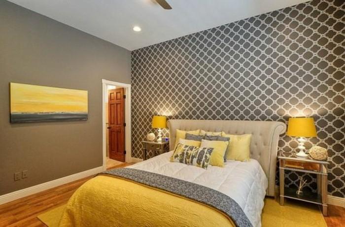 grautöne in dem schlafzimmer, grau gelb und weiß kombinieren, stehlampen, deko ideen in gelb