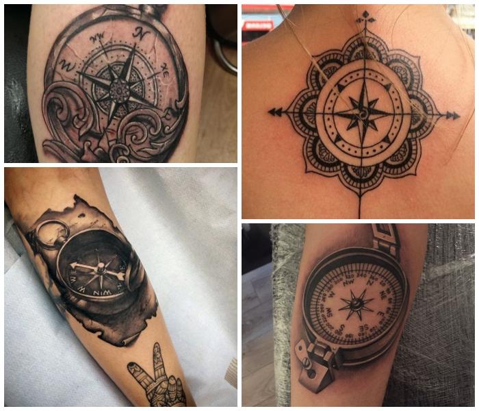 schwarz graue maritime tattoos ideen, mandala am rücken, realitisch