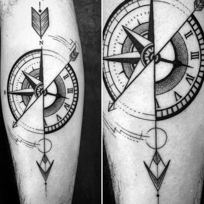 pfeil tattoo am arm in kombination mit uhr und kompass, blackwork tätowierung