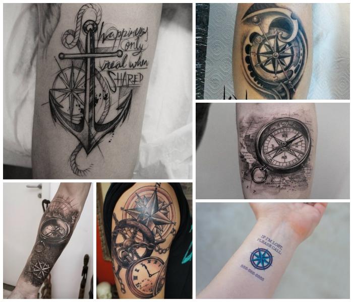 realitisches tattoo taschenuhr, steuerrad mit uhr, großer anker, blackwork