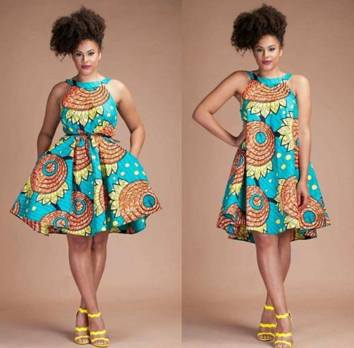 holländische stoffe online, bunter stoff aus dem ein schönes kleid gekreiert wird, blau, gelb, orange, gelbe schuhe