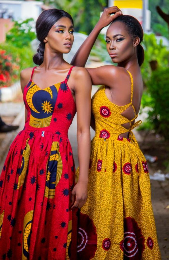 holländische stoffe online, gelbes kleid mit rotes kleid ideen, kombinationen zwei models