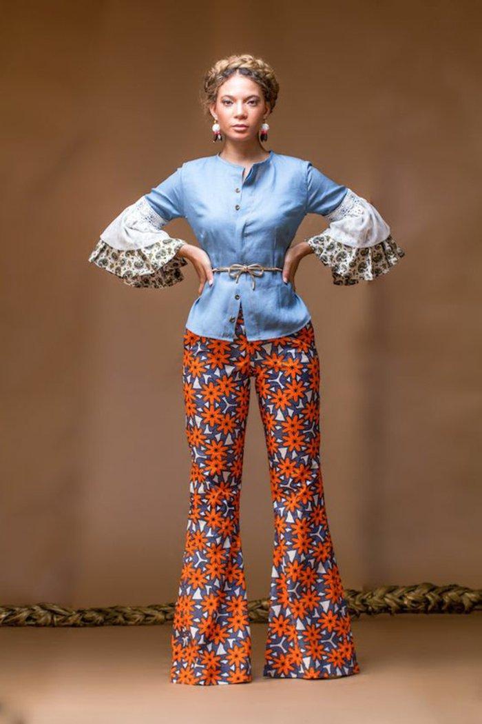 afrikanische stoffe in bunten farben, daraus schafft man trendy outfits und schöne looks, breite hosen und ärmeln
