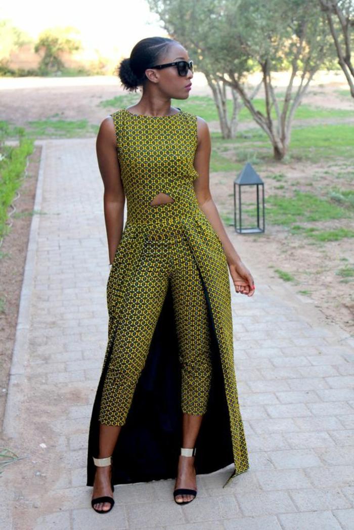holländische stoffe online, kreatives design, schöne kleidungsstücke in gelb und grün, nackte stelle am bauch