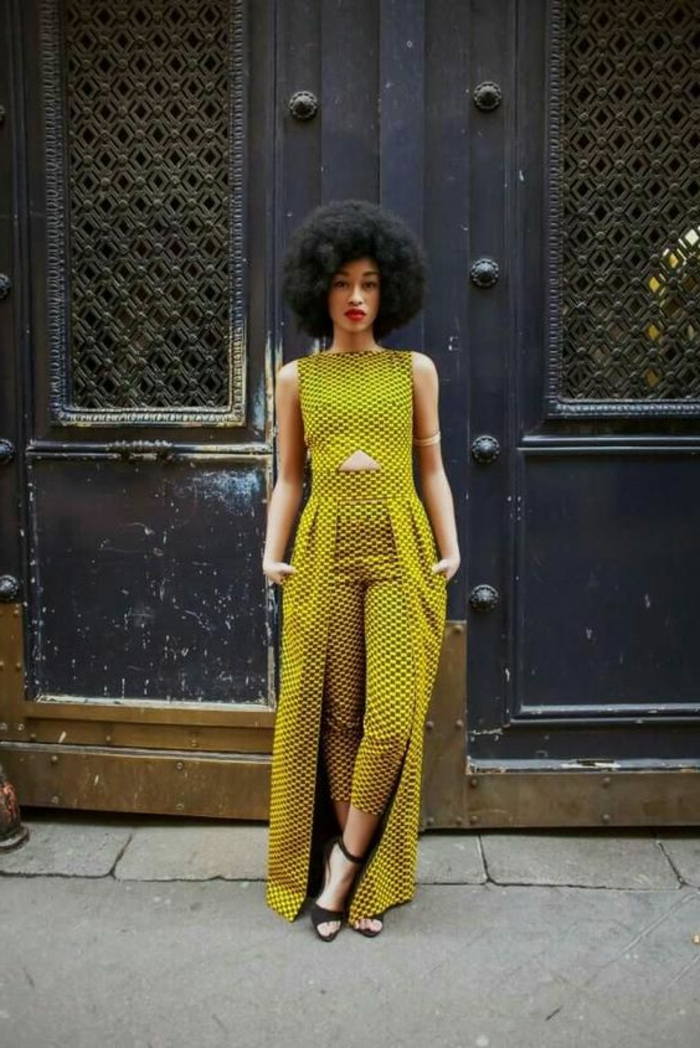 stoffe kaufen idee in einzelner farbe, ausgefallene kleidungsideen, grün gelber stoff, afro haare