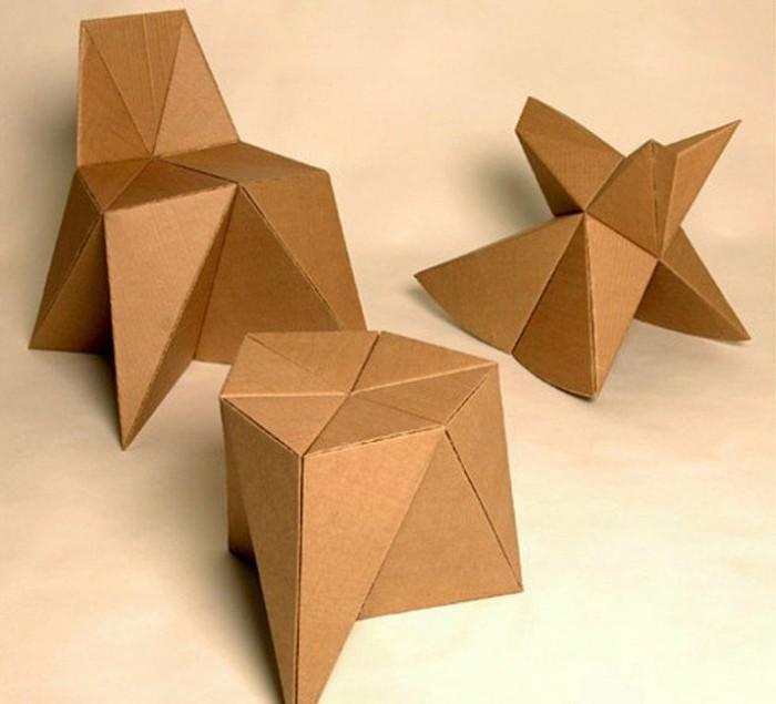 kartonmöbel, kreativ gemachte hocker und kleine stühle, optik zum inspirieren, möbel gestaltung