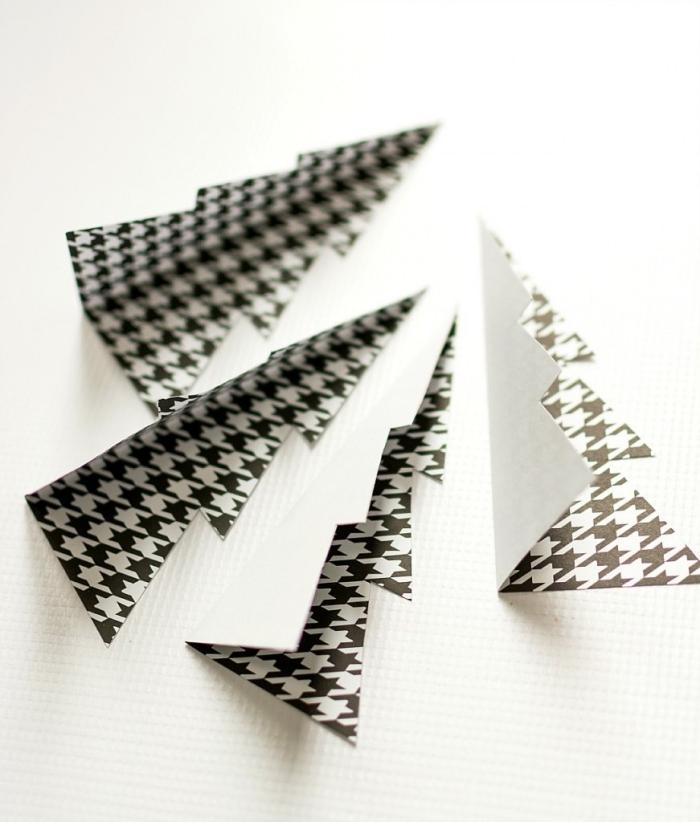 3d weihnachtsbäume selber machen, bastelkarton in schwarz und weiß, tannenbaum basteln papier vorlage,