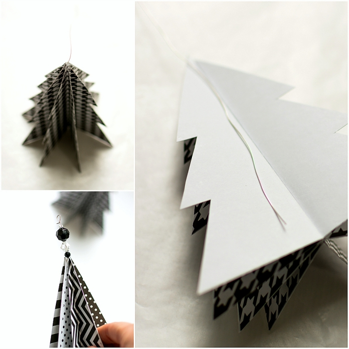 christbaumschmuck selber machen, tannenbaum basteln papier vorlage, weiße schnur